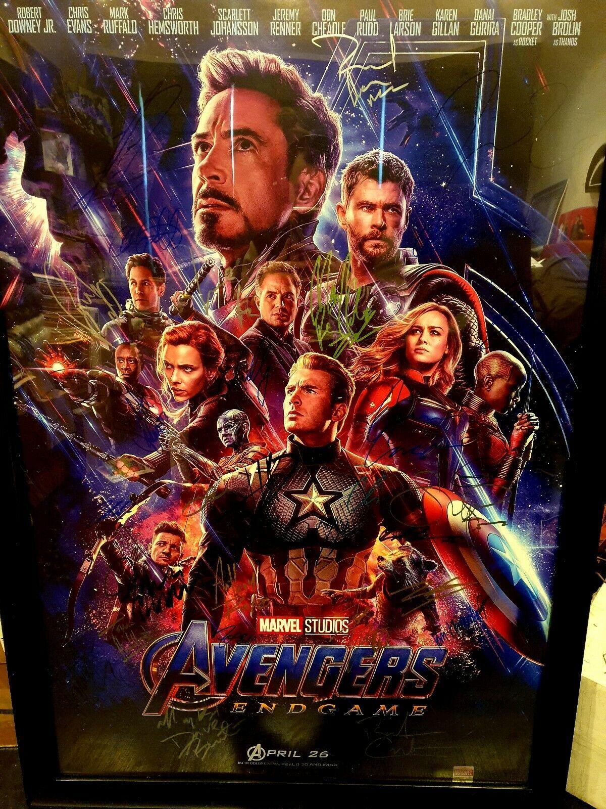 avengers endgame cast signed poster
