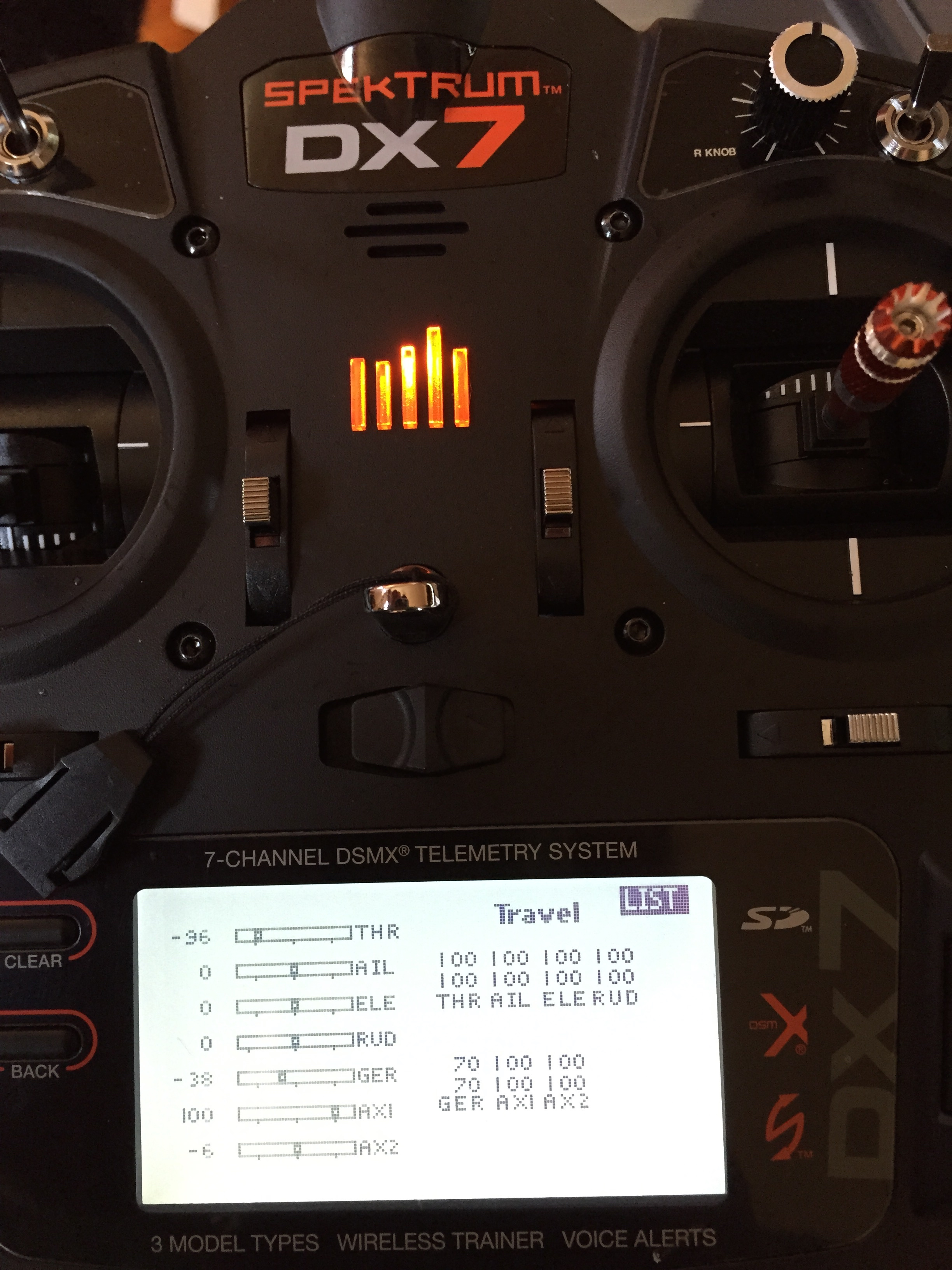 here are the settings i used to setup the 6 flight modes on a new spektrum dx7 system im sure there is a better way to set this up but i did  [ 768 x 1024 Pixel ]