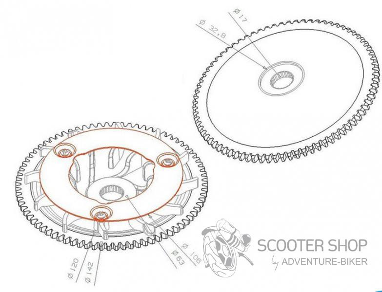Řemenice variátoru přední Piaggio 125-150cc (Leader