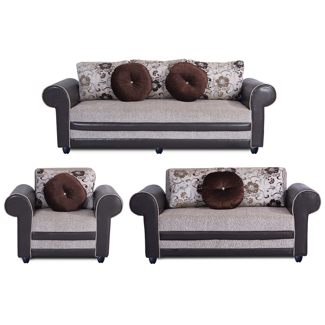 Bharat Lifestyle Alex Fabric Cream Brown Sofa Set 3 2 1 Online Price In India Buybharat Lifestyle