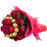 Ferrero Rocher Chocolate Bouquet With Red Roses