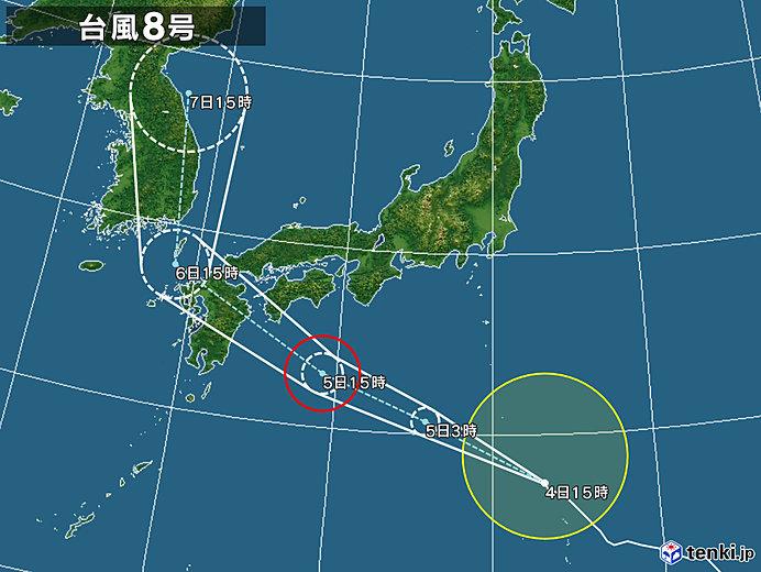 昼間は酷暑 夜は台風8号接近で九州や四国で荒天か