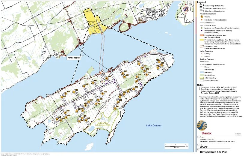 A map of Amherst Island from the Revised Draft Site Plan by Windlectric.