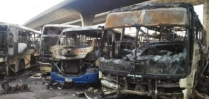 18 Chisco Luxury transport buses burnt down in Lagos
