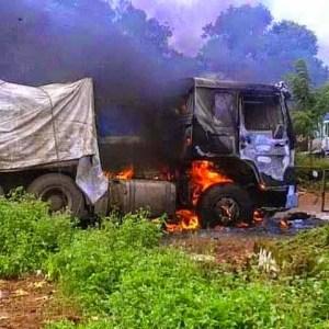 2 Dangote Trucks carrying cement Burn Down For Killing School Girl (See Photo)