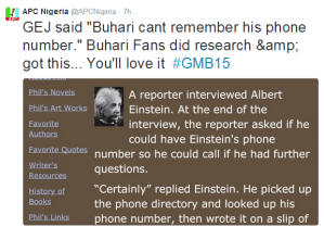 APC RESPONDS TO JONATHAN'S JOKE THAT BUHARI CAN'T EVEN MEMORIZE HIS OWN PHONE NUMBER!