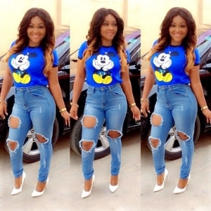 Actress Mercy Aigbe Looking Fresh And Fine In Ripped Jeans