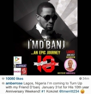 Amber Rose confirms coming to Lagos for D