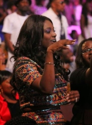 Annie Idibia Did The Shoki Pose As She Supports Husband In Ghana For Hennessy Artistry International Concert