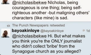 Another reporter present at Synagogue comes for Nicholas Ibekwe