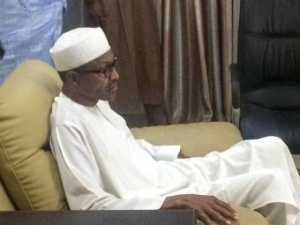 Buhari watching final results of the 2015 presidential election