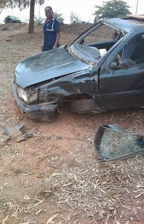 Car Crashes In Abuja After V.I.O Staff Drags Steering Wheel With Driver