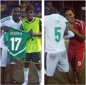 Comedian, AY trains with Super Falcons