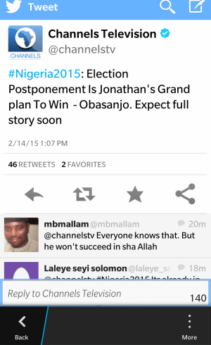 Elections Postponement Is Jonathan