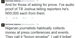 Explosive! Journalist Nicholas Ibekwe shares audio proof of T.B Joshua offering journalists N50k