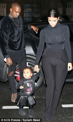 Family In Black: Kanye West, Kim Kardashian-West and North West Step Out in Matching Outfits | PHOTOS