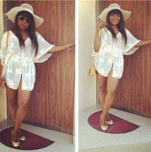 Funke Akindele Shows Off Her Se-xy Beach Look