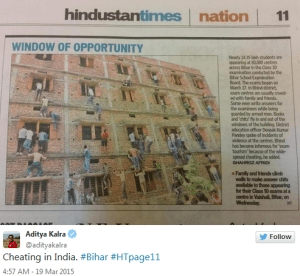 Indian parents climb school wall to help their kids cheat on an exam
