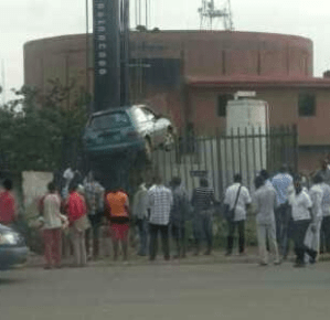 Is He Driving To The Space? See Bizarre accident along Ring road in Benin city | Photo