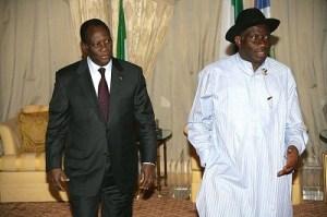 Ivoirian President In Abuja, Praises Jonathan For Saving Nigeria From Civil War