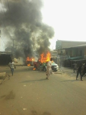Jonathan Campaign Bus And Hilux Set On Fire At Suleja
