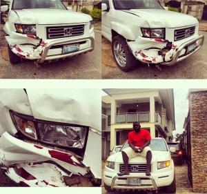 Kcee's Manager, Soso Soberekon Crashes his SUV