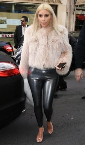 Kim Kardashian steps out with leather pants in Paris