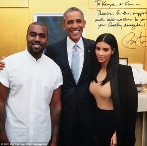 Kim & Kanye West Pictured With US President Barack Obama