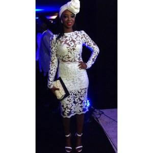 Kunbi Oyelese stuns in sheer 2-piece dress by her label