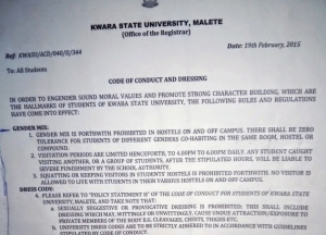 Kwara State University new Code of Conduct & Dressing