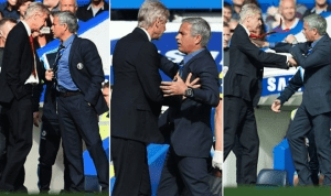 Lol! See moment Arsene Wenger pushed Mourinho during match today