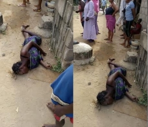 Neighbours Ignore Lady Who Fainted Because Of Her Alleged Wicked Ways (Photo)