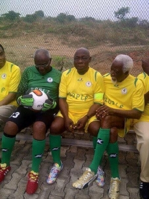 Obasanjo Playing Football In A Novelty Match