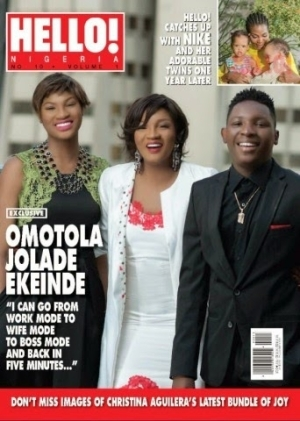 Omotola & her children cover new issue of Hello! Nigeria mag