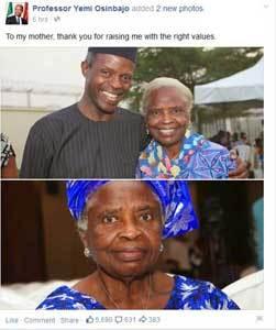 Osinbajo shares photos of his mother
