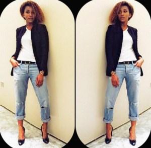 Photo: Genevieve Nnaji Stylish In Jeans And Black Jacket