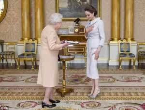 "Photos: Angelina Jolie gets Honoured with ""DameWood"" by Queen of England During her Visit"