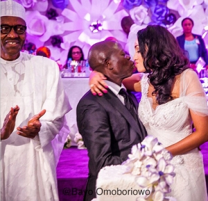 Photos: Gov. Oshiomole Shares Kiss With His Beloved Wife At Their Wedding