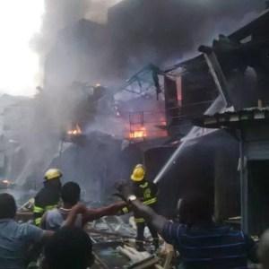 Photos: Popular Balogun Market, Lagos razed down with fire including Diamond Bank