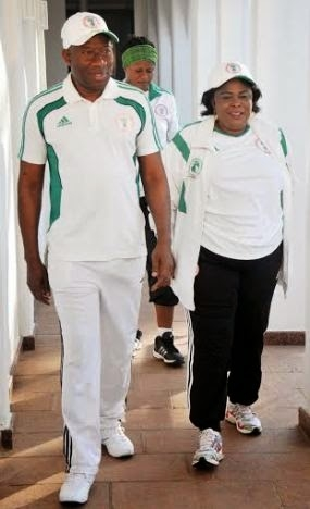 President Jonathan and First Lady at the gym
