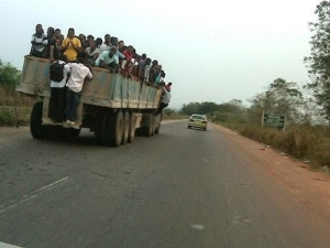 See How Polytechnic Students Hang On Truck As Means Of Transportation