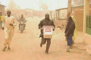 See This Grown Man Making Away With INEC Ballot Box