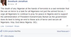Support Buhari To End Boko Haram Attacks - Jonathan Urges Nigerians