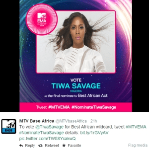 Tiwa Savage Loses Out On MTV EMAs Wildcard Nomination