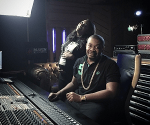 Tiwa Savage Rocks Baby Bump As She Works In The Studio With Don Jazzy
