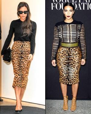 Who Wore It Better?: Victoria Beckham Vs. Kim Kardashian In Leopard Pencil Skirt