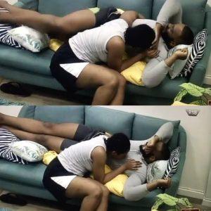#BBNaija: Kiddwaya blushes as Erica rubs her lips on his nip.ples (WATCH)