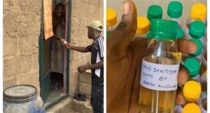 NYSC member donates hand sanitisers in Ogun (Photo)
