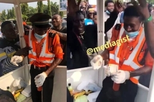 Traffic Warden In Tears As Protesters Shower Him With Food, Drinks And Cash (VIDEO)