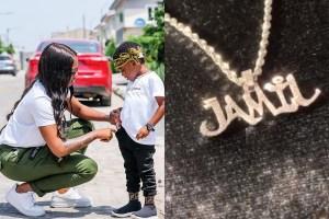 Tiwa Savage Buys Her Son Jamil, A Customised Million Naira Diamond Necklace As Birthday Present (Video)